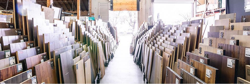 Huge flooring showroom with hardwood floor discounts